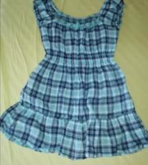 S-M/L plava karirana tunika/haljinica