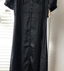 Crna satenska haljina L