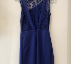 Zara plava haljina s čipkastim detaljima