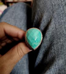 Srebrni TIRKIZNI prsten %%%