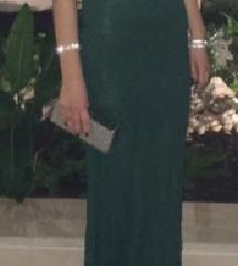 Svečana smaragdno zelena duga haljina