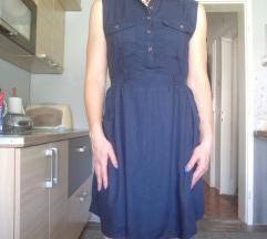 Tamno plava haljina sa remenom