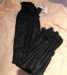 Zara glitter hlače crne mašnice xs