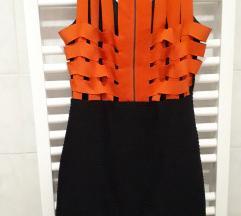 Sexy crna mini haljina s narančastim trakama