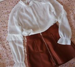 NOVO kožne suknje i košulja na volane