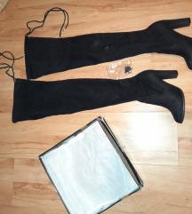 Crne čizme preko koljena na petu
