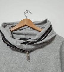 Pamučna siva tunika/haljina s džepovima L-XL