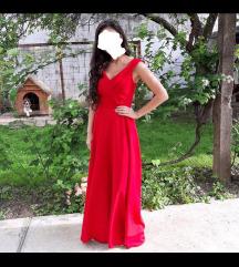 Duga crvena svecana haljina