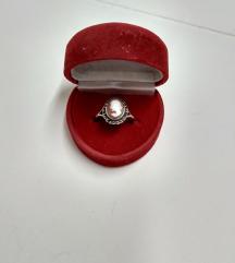 Stari cameo prsten srebro 800,skoljka i markeziti