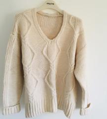 Bež oversized pulover vel XS-S