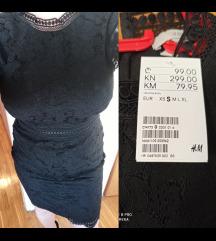 Nova H&M crna elegantna haljina s etiketom
