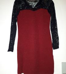 Čipkasta bordo haljina