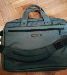 Siva klasična torba za laptop s puno pretinaca