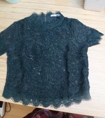čipkasta majica tamno zelena