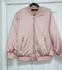 Zara Bomber jakna satenska baby pink roza