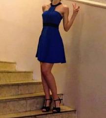 Plava srednje duga haljina