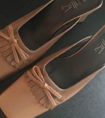 ZARA kožne bež cipele natikače  s mašnom