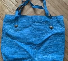 Krokodilska tirkizna torba