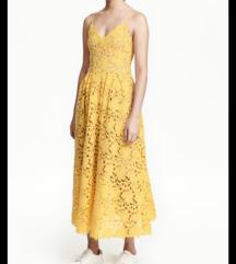 HM haljina od žute čipke