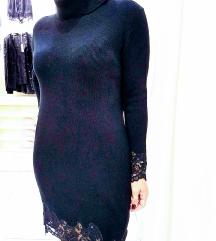Modra haljina s čipkom