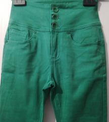 zelene hlače vrlo visokog struka, vel.M