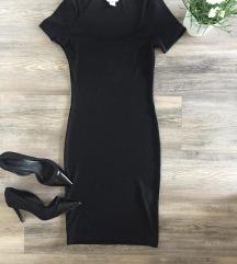 H&m midi crna rebrasta haljina