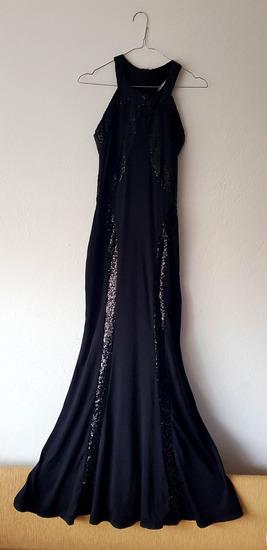 Ženska večernja crna haljina sa šljokicama