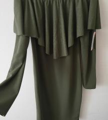 Maslinasto zelena off shoulder haljina  S/M