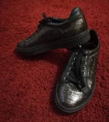 Crno srebrne kožne tenisice, 37