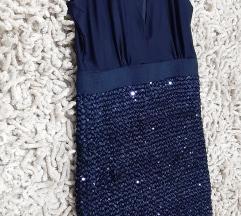 Asos tamnoplava šljokasta haljina%