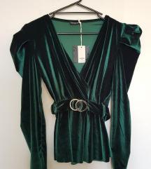 Smaragdno zelena plišana majica