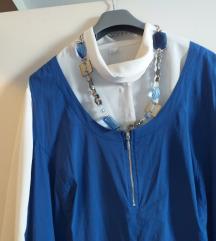 Plava tunika - haljina s velikim dzepovima