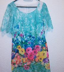 Cvjetna mini haljina kratkih rukava
