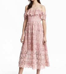 Svečana čipkasta roza haljina