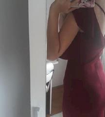 Bordo haljina s dva volana na vezanje