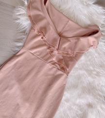 Baby roza uska haljina sa volanom - NOVO