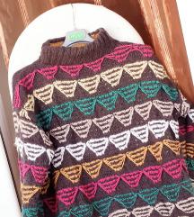 Sivo-šareni vuneni pulover L