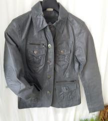 Prava kozna jakna tamnosiva