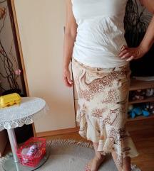 Smeđa midi suknja