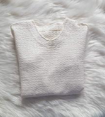 Krem majica dugih rukava, s teksturom