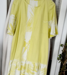 Vintage ručno izrađena zeleno-bijela haljina L-XL/