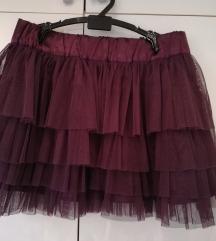 Terranova ljubičasta/ bordo suknja s tilom