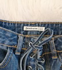 Kratka traper suknja s vezicama