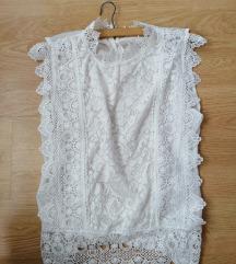Bijela cipkasta bluza uni