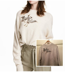 H&m bež pulover s motivom ptice vel S