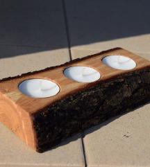 Rustikalni drveni svijećnjak unikat