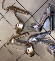 Sandale 39 vel zlatne i srebrne