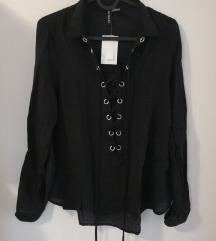H&M crna košulja sa vezicom vl.38