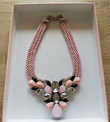 Roza pletena ogrlica s cirkonima, novo!