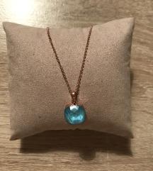 NOVA zlatna ogrlica s plavim kamenom 💎 (pt uklj)